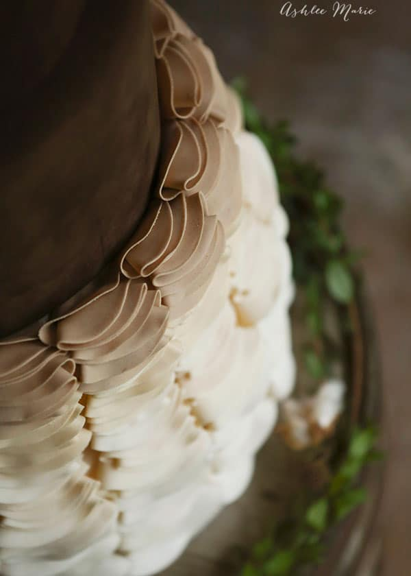 the cake is made more lovely with these soft ombre gumpaste ruffles
