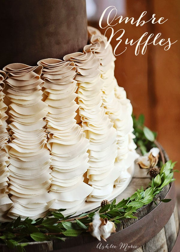 ombre gumpaste ruffles leave a gorgeous soft effect to the bottom tiers of this wedding cake