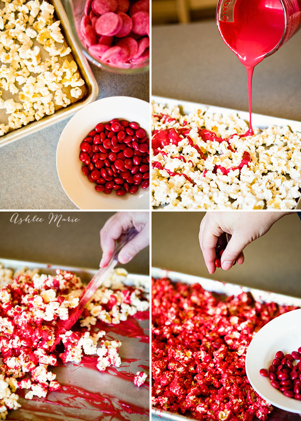 popcorn, colored chocolate and M&M's make a delicious treat