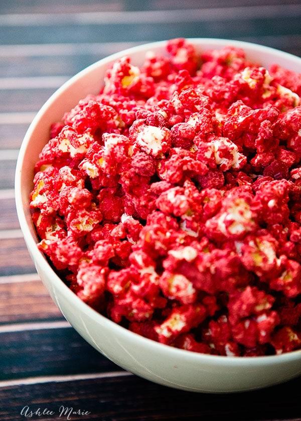 Red Carpet M&M candy popcorn