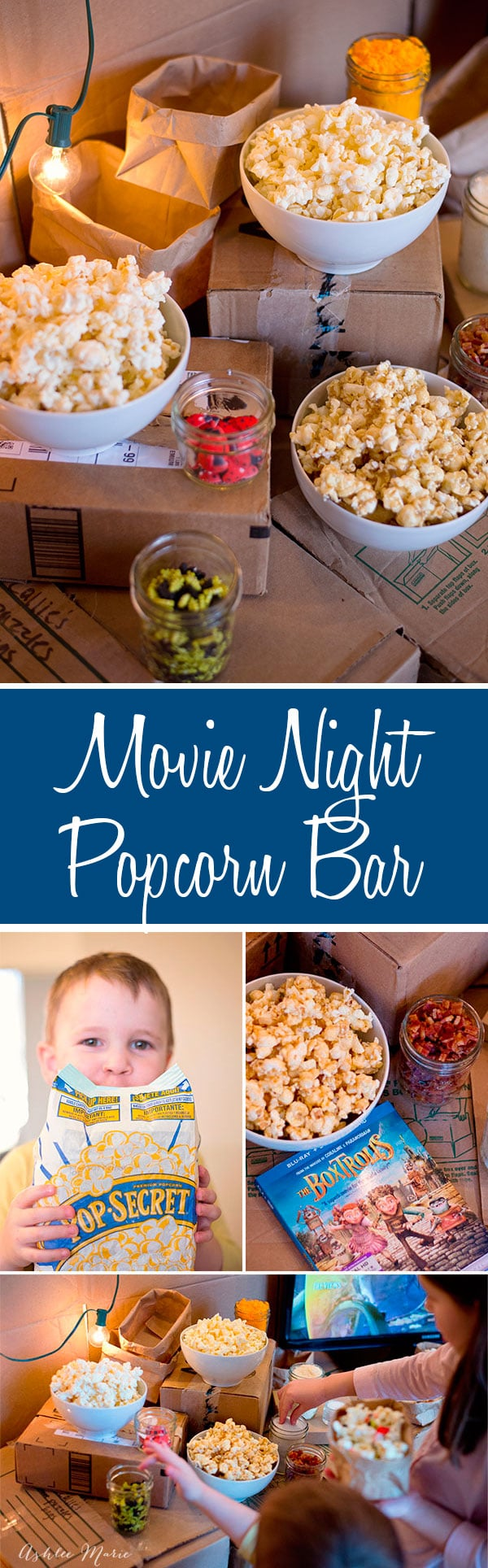 Family movie night at our house means lots and lots of popcorn! come see our family popcorn bar with toppings and mix ins