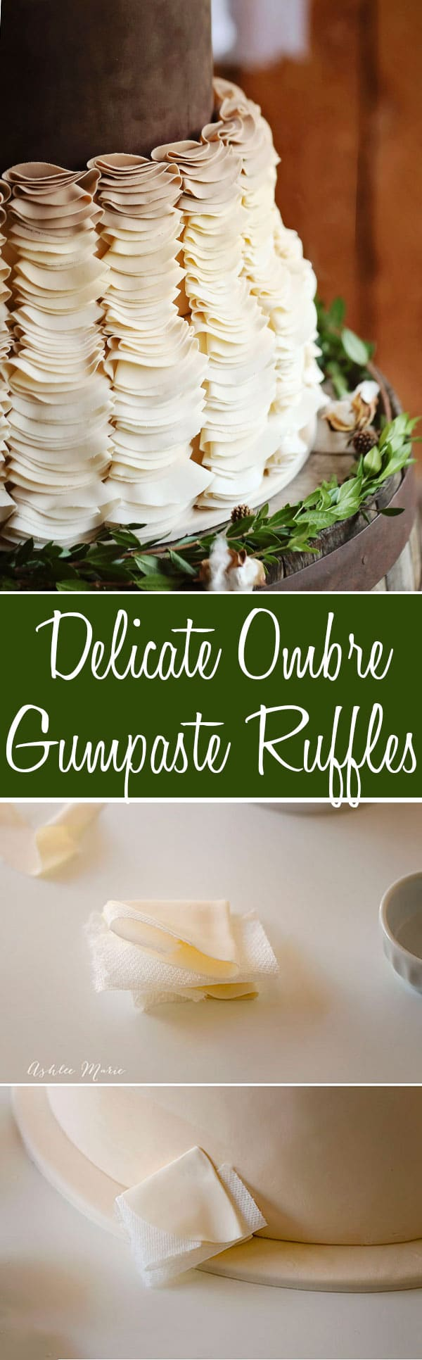 a full tutorial for how to make these delicate gumpaste, ombre ruffles