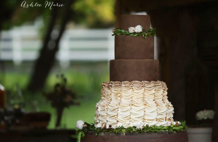 chocolate wedding cake with gumpaste ruffles tutorial
