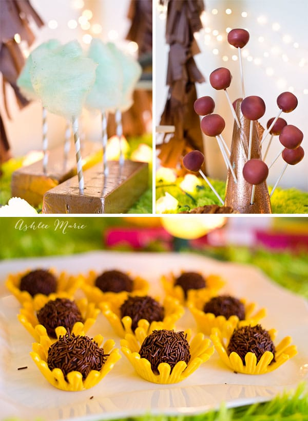 cotton candy, truffles and cake pops are great party foods