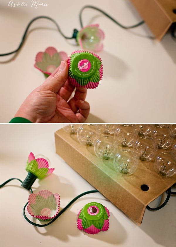 adding cupcake liners to string bulbs makes an easy and fun decoration