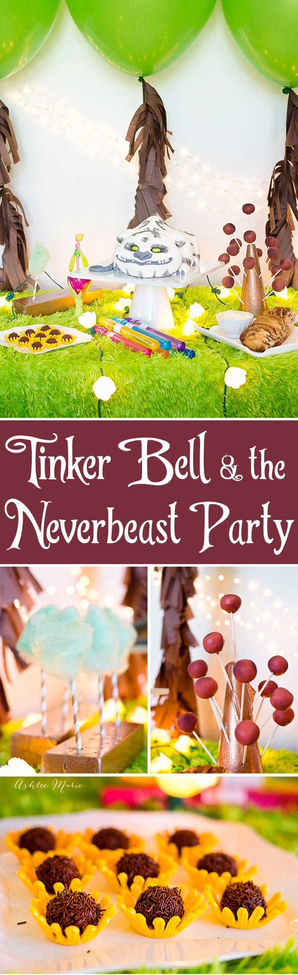 a party for the movie Tinker Bell and the Neverbeast, with decorations, themed food, an amazing cake and more