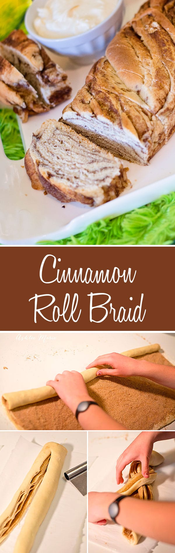 use a traditional cinnamon roll dough to slice and create this cinnamon roll braid.  It creates a lovely twist and serves nicely