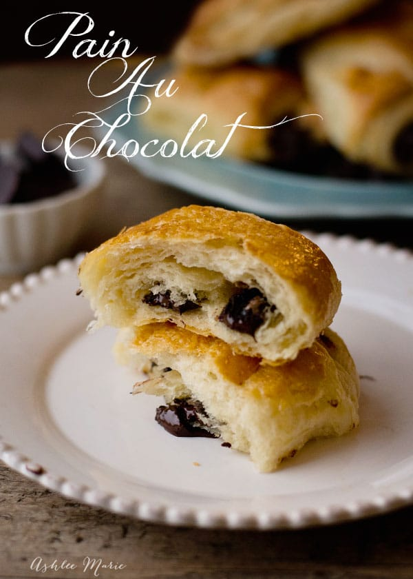 Pain au chocolat are chocolate filled croissants, they use the same dough and dark chocolate for a rich treat