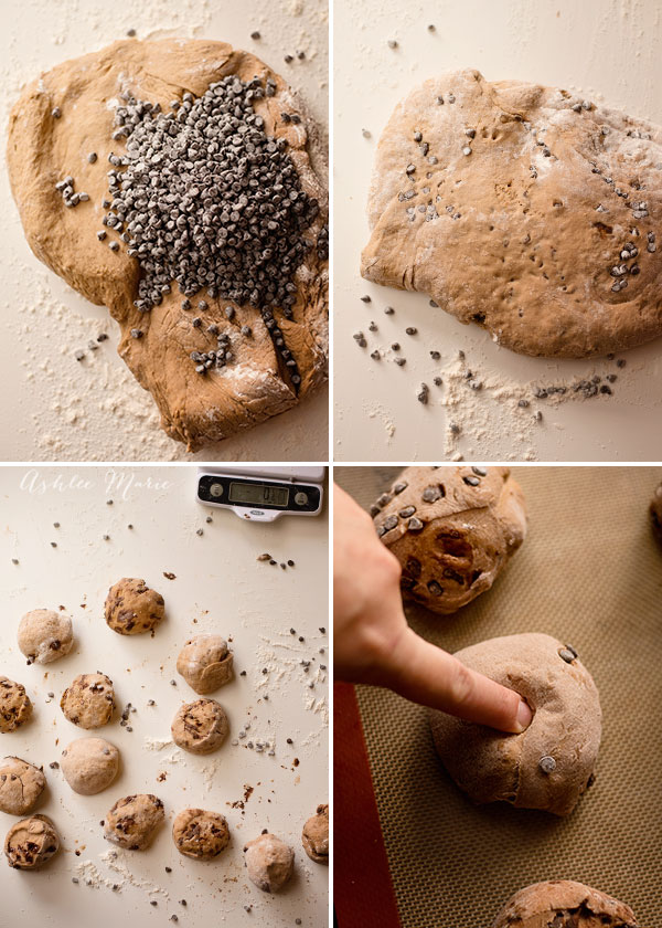 Mix frozen mini chocolate chips into the chocolate bagel dough so they dont melt while you knead