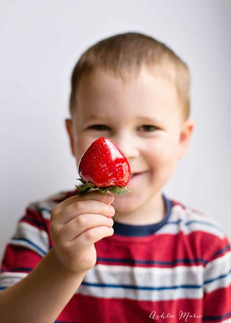 My kids love candied strawberries, like a sweet strawberry pop