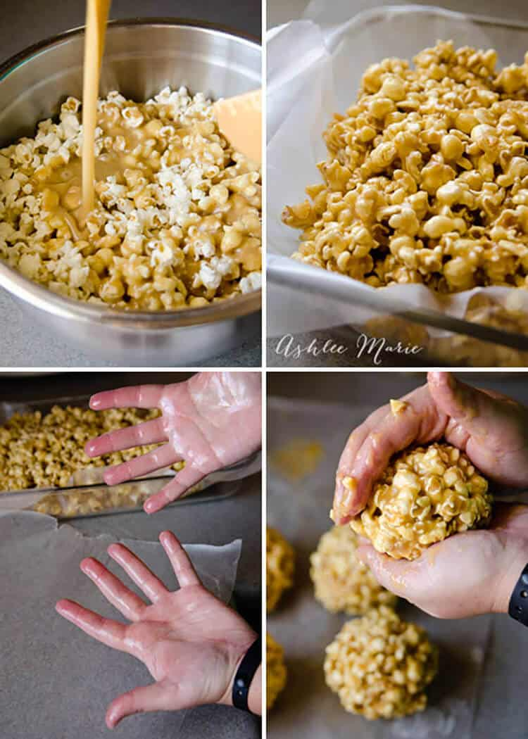 We love caramel popcorn at our house, this recipe is easy to make; let it cool and form into balls if you want to easily give some away as a gift - full video tutorial to help. | Spring | Holiday | Homemade Gifts | Party Foods | Popcorn | Caramel | #partytreats #holidaygifts #caramelcorn #popcornballs