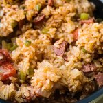 a super spicy sausage jambalaya that is easy to make in a rice cooker
