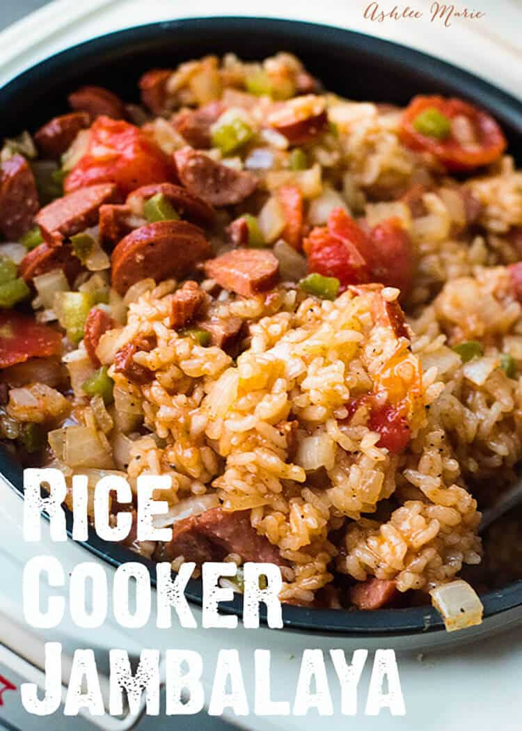 Rice cooker sausage jambalaya recipe ashlee marie real fun with it doesnt get much easier to make this sausage jambalaya than in the rice forumfinder Gallery