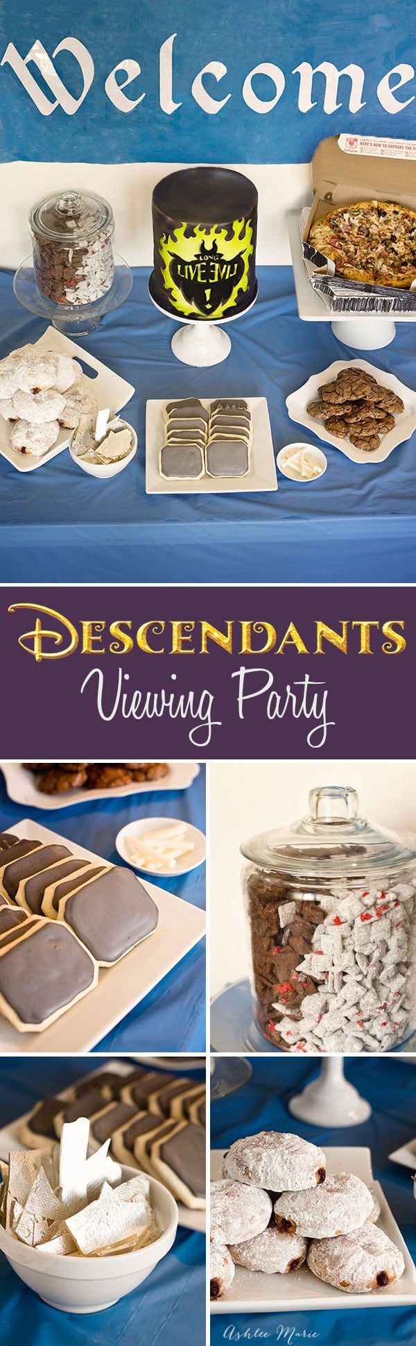 Throw your own party for Disneys Descendants movie, with cookie chalkboards, candy chalk, graffiti cake, DeVille puppy chow, love potion cookies, edible magic mirrors, and more
