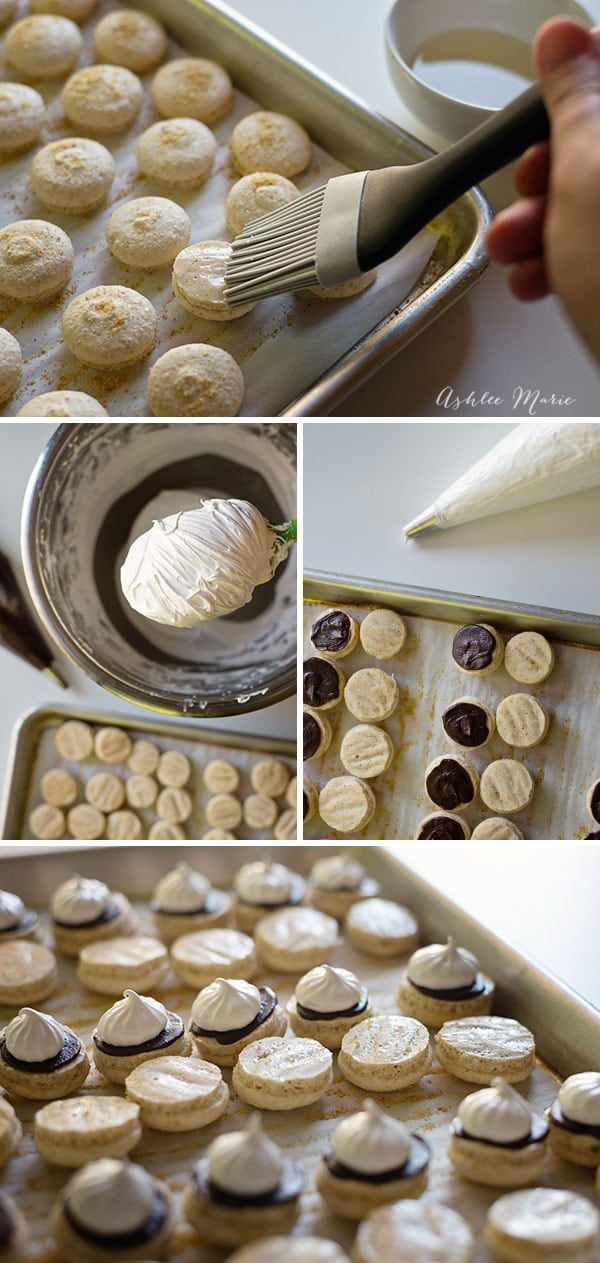 graham cracker flavored macaron shells filled with chocolate ganache and marshmallow frosting