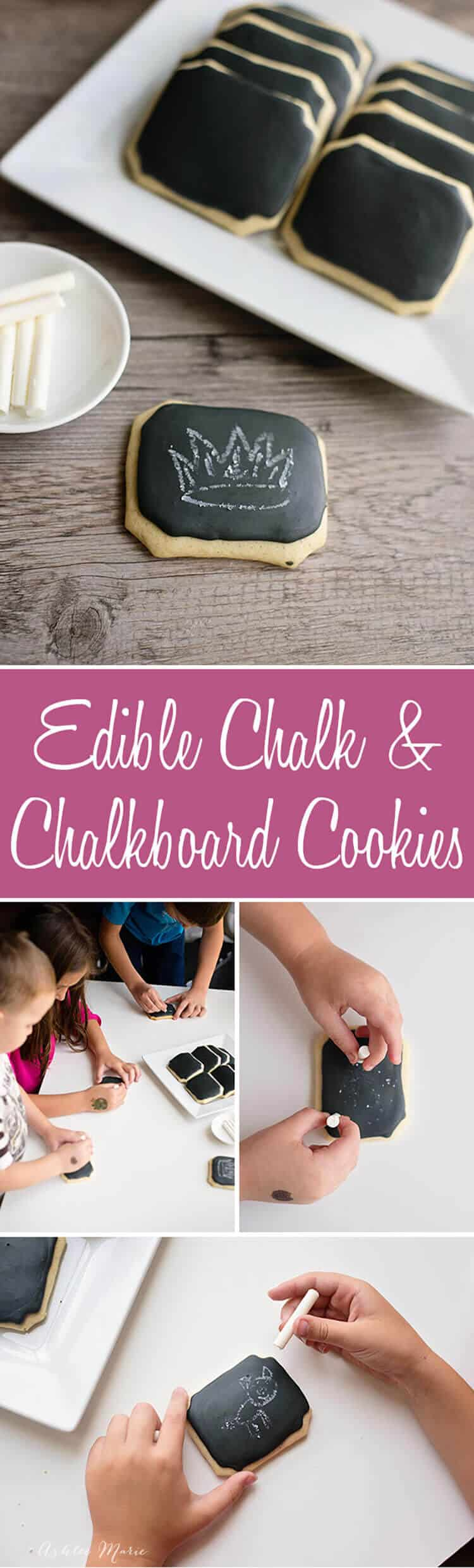 it is easy to make homemade chalkboard cookies and edible chalk and it's just as fun to play with them as to eat them, a great treat and snack for school or parties
