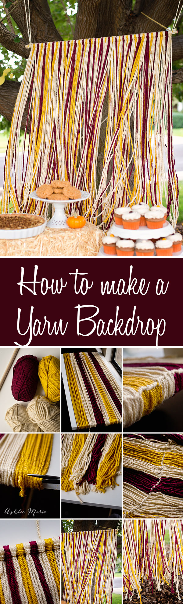 creating a fun and flowy yarn backdrop is easy to do, in one color or multiple colors you just need yarn and a strong dowel rod and you will have a beautiful backdrop in no time