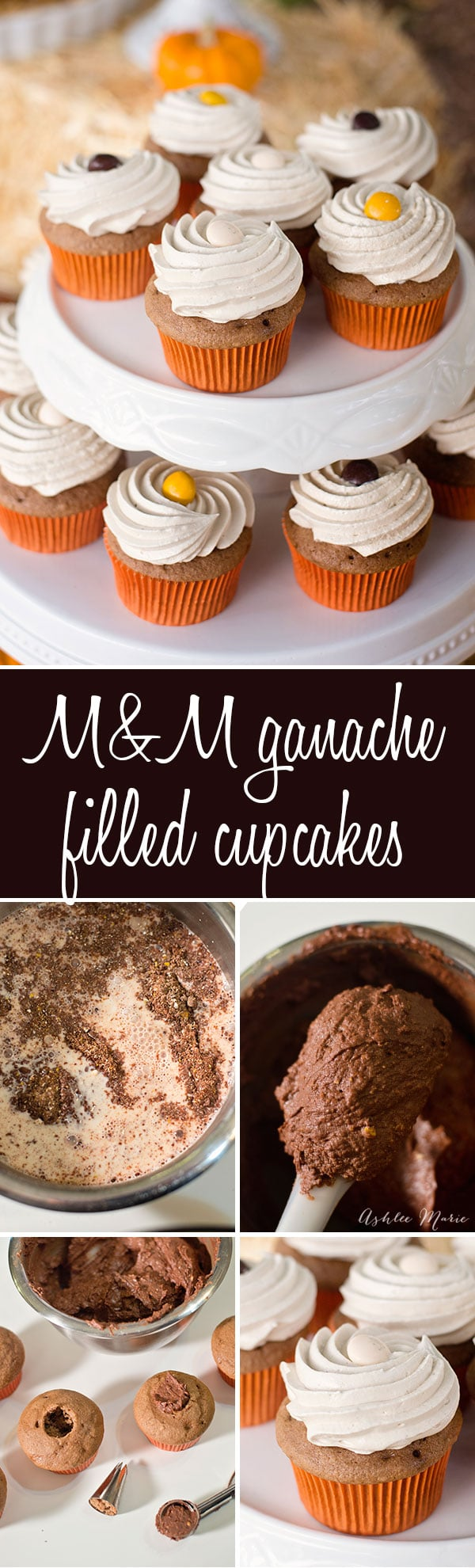 Chocolate cupcakes filled with a ganache made from M&M's® then topped with an easy seven minute brown sugar marshmallow frosting