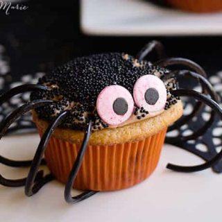 chocolate caramel spider cupcakes