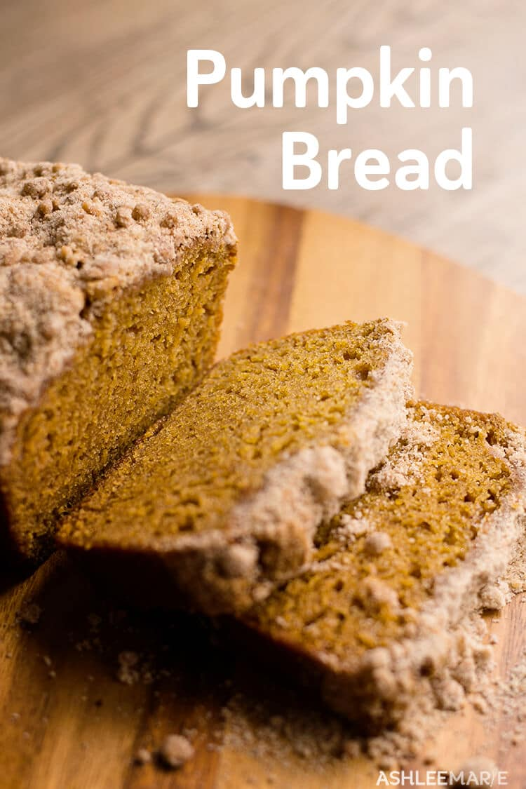 Not too sweet, this Pumpkin Bread has an amazing streusel topping and an amazing pumpkin flavor with great texture. | Ashlee Marie | Fall | Autumn | Holiday | Thanksgiving | Halloween | Pumpkin | #ashleemarie #fall #autumn #pumpkin #holiday #thanksgiving #halloween