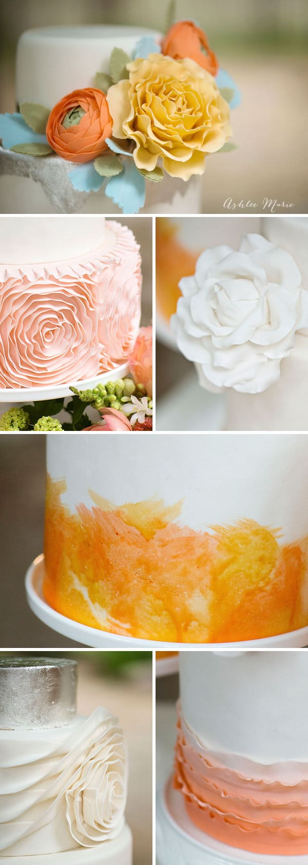 gumpaste flowers, fondant rosettes, hand painted watercoloring, ruffles and more all add the the beauty of this trio of wedding cakes