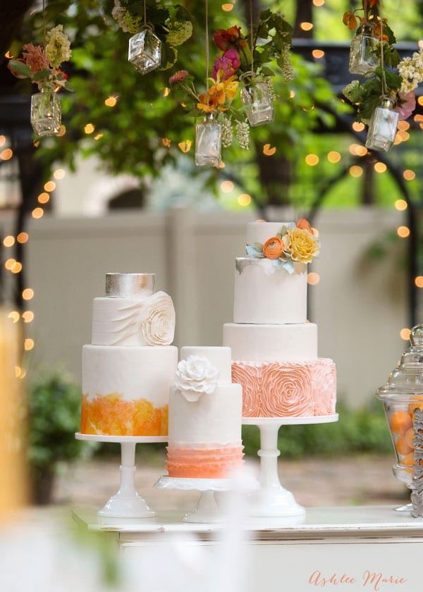 this wedding cake trio is elegant, soft and just beautiful