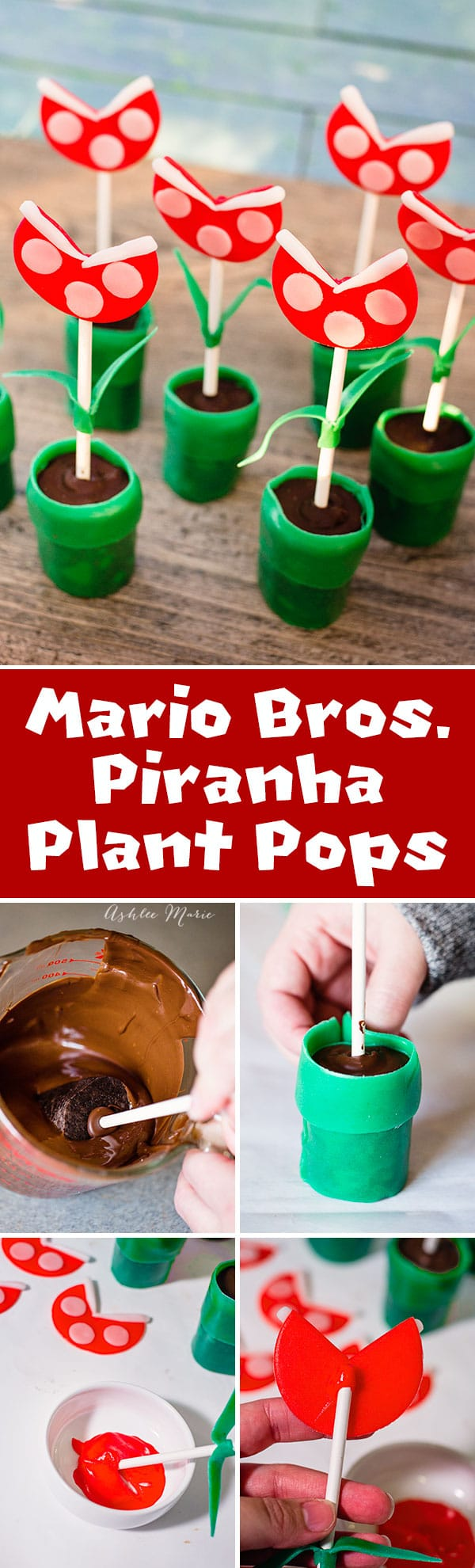 using oreo cookie pops or cake pops as a base and Airheads candy for decorating create these mario tubes and piranha plants