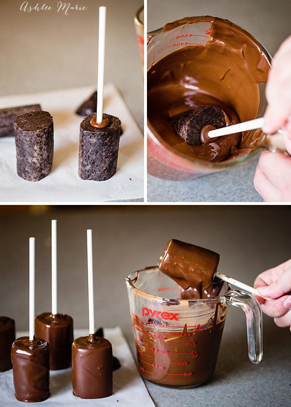 use frozen oreo cookie pops as the tubes, dip in chocolate for the dark inside of the tube, or green if you have it