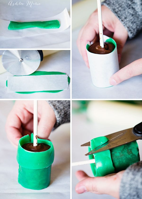 heat then roll out the green, aka watermelon, Airheads candy and wrap around each cake pop to create the tubes