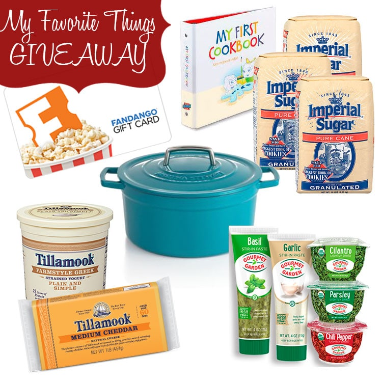 come win a gift package of my favorite things - gourmet gardens, imperial sugar, tillamook cheese and greek yogurt, Martha Stewart Pot and Date Night Fandango Gift Card