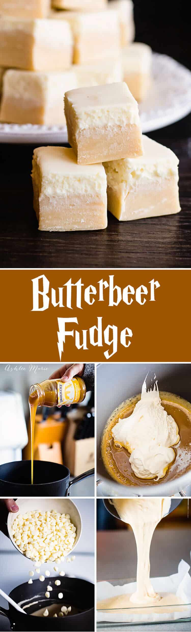 Everyone loves butterbeer, so here is an oh so delicious butterbeer fudge with a creamy top, just like the drink itself