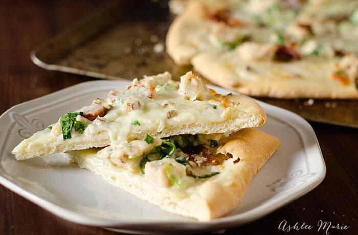 alfredo chicken pizza artichoke spinach bacon