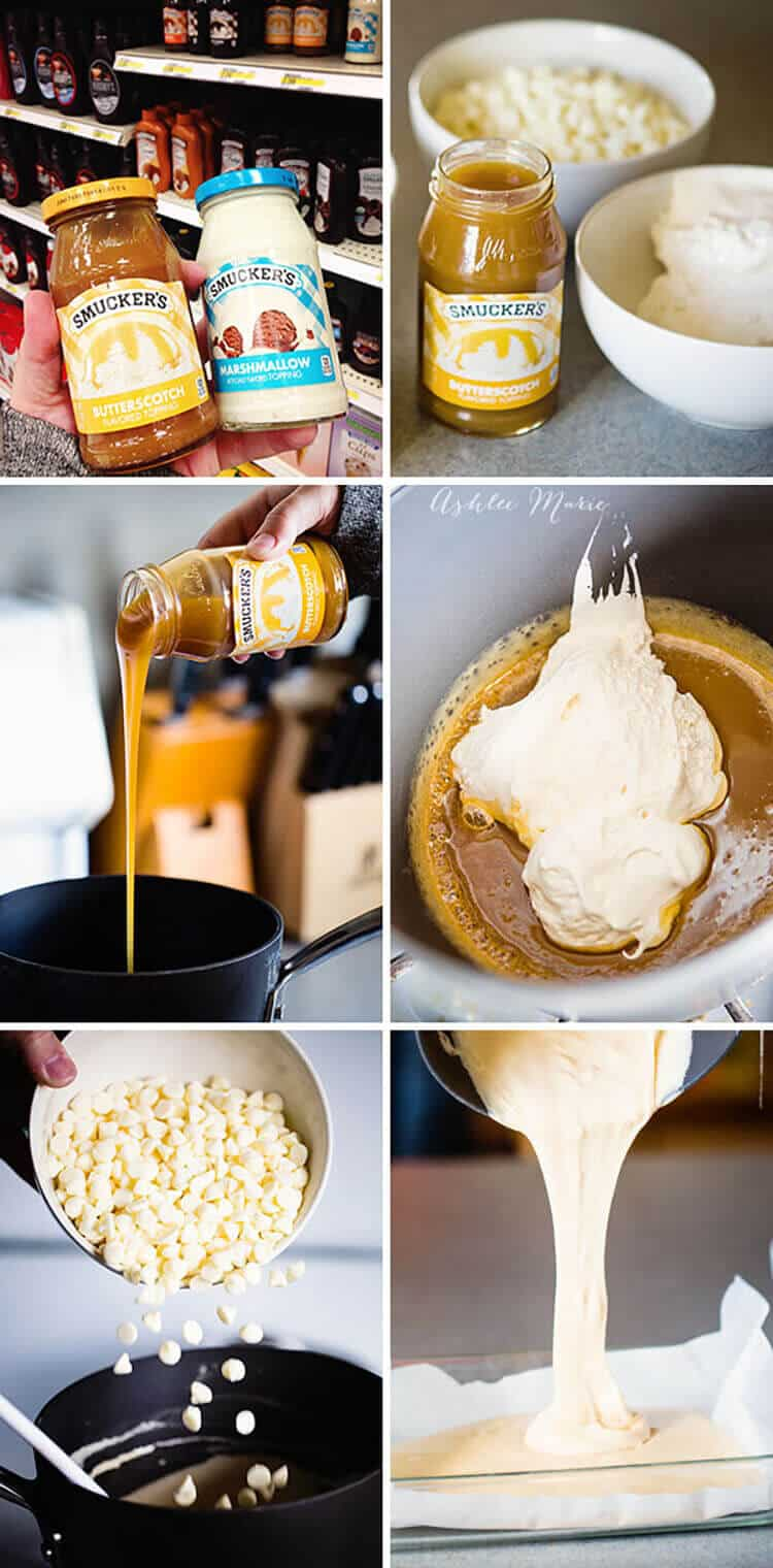 heat the sauce and marshmallow fluff, then add the chocolate chips and let set, easy peasy. you can leave it as a butterscotch layer but the second layer creates the look of