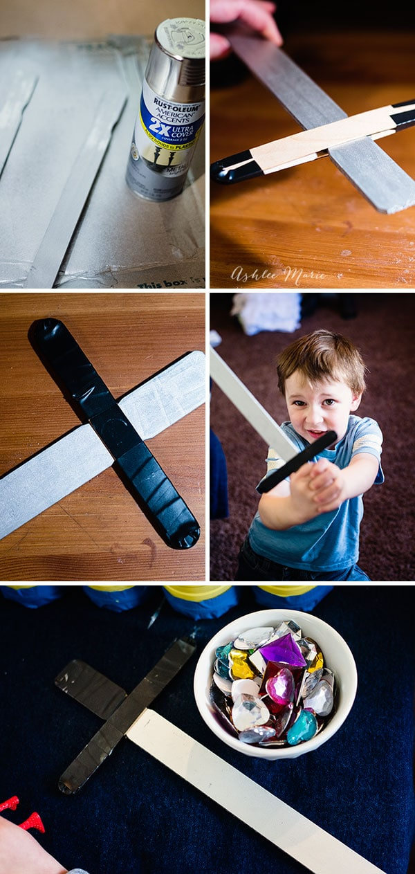 it's easy to make your own Excalibur sword, paint stir sticks, metallic paint, craft sticks, black tape and jewels