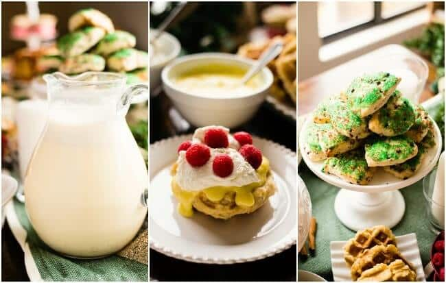 Homemade Eggnog, Liege waffles with lemon curd and Easy chocolate chip scones - perfect christmas morning breakfast