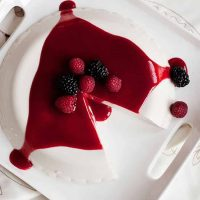 berry coulis on a coconut panna cotta is simply divine