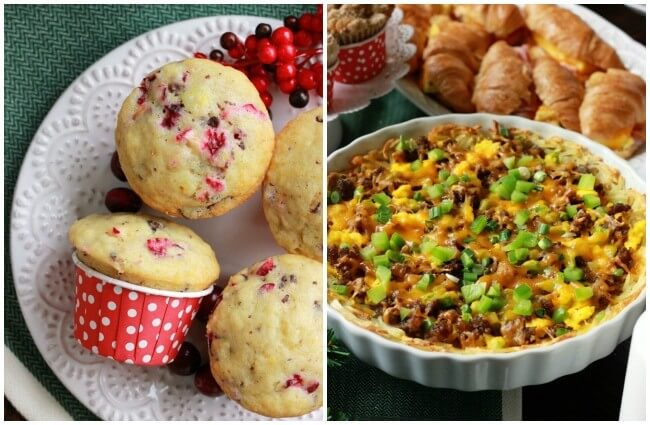 chocolate chip cranberry muffins and gluten free breakfast pizza, both easy to make and perfect for a holiday brunch