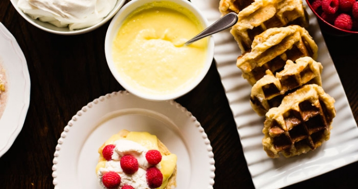 Lemon Curd Raspberries Liege Waffle Recipe