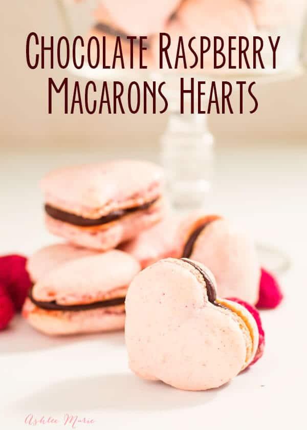 chocolate raspberry macaron hearts