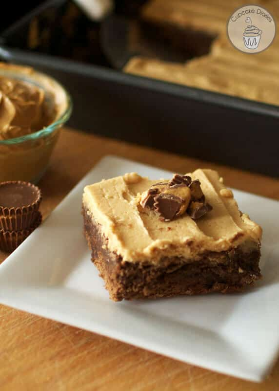 peanut butter cup brownies with frosting