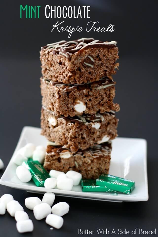 chocolate mint krispie treats