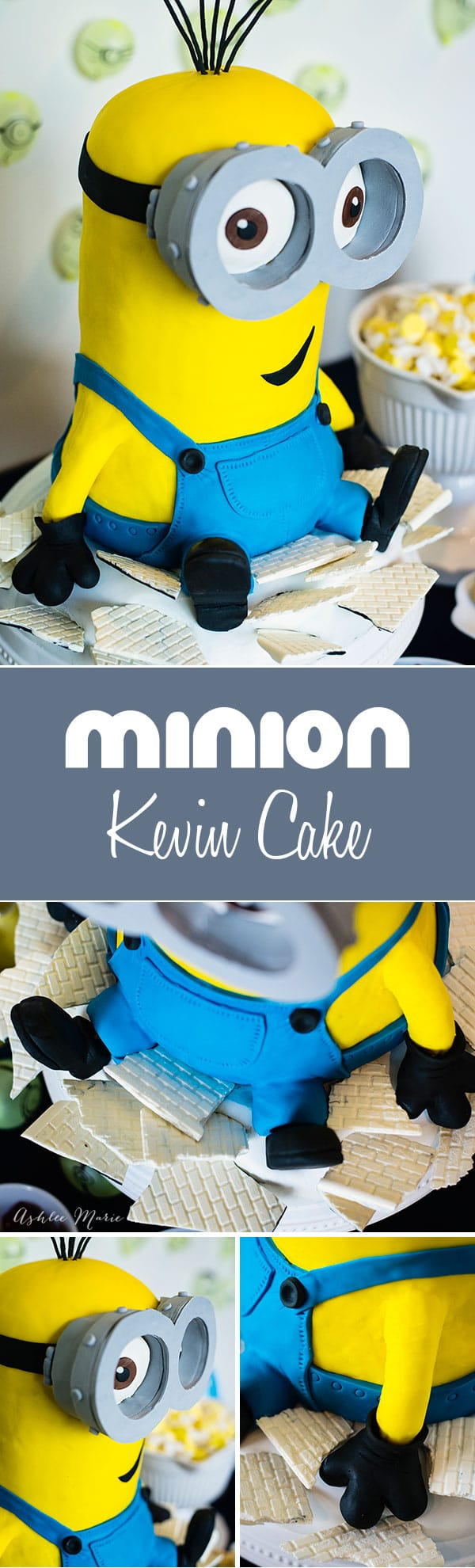 a video tutorial on making this minions cake - Giant Kevin sitting in the rubble of Scarlet Overkill's castle