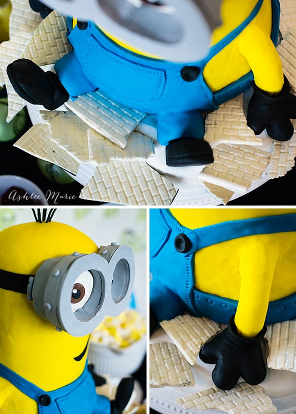 the details of this sweet minion cake - gloves, overalls, googles and more, a video tutorial so you can create your own minion cake at home