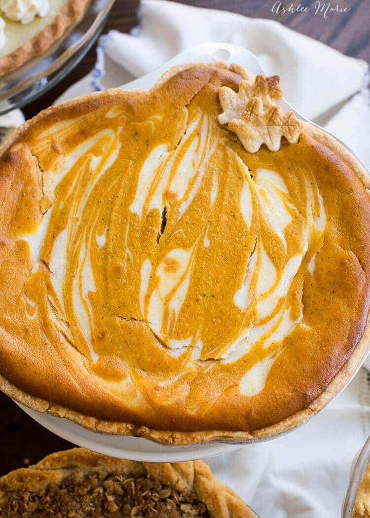 A twist on the classic pumpkin pie the cream cheese in this adds a creaminess to the texture that everyone will love