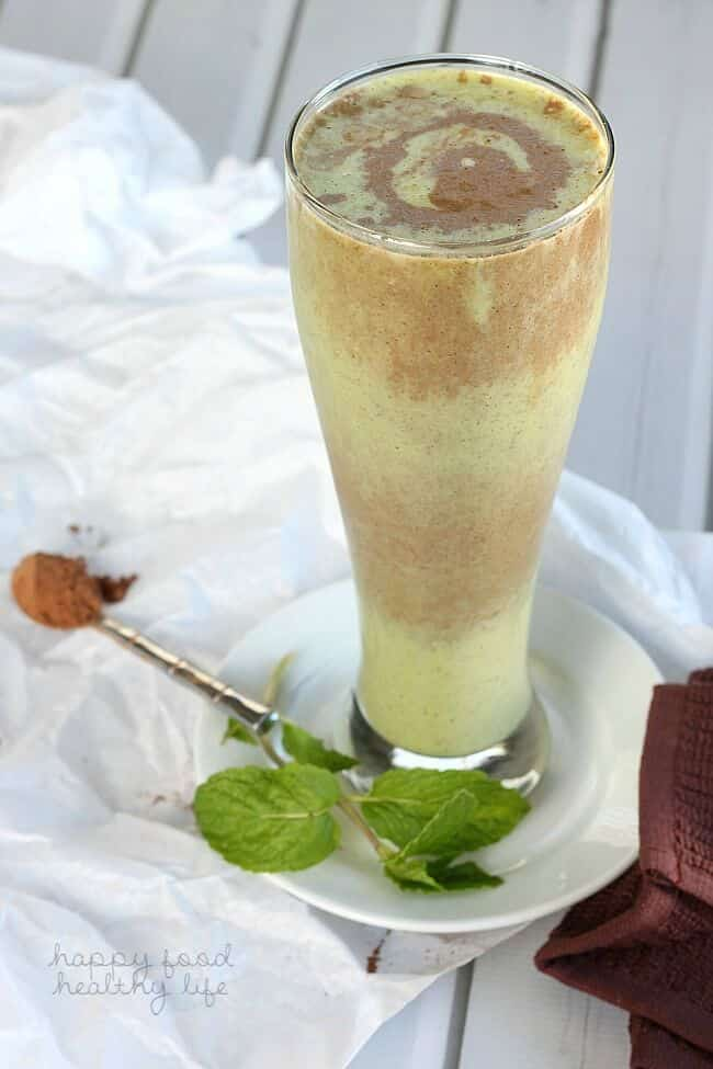 chocolate mint layered smoothie