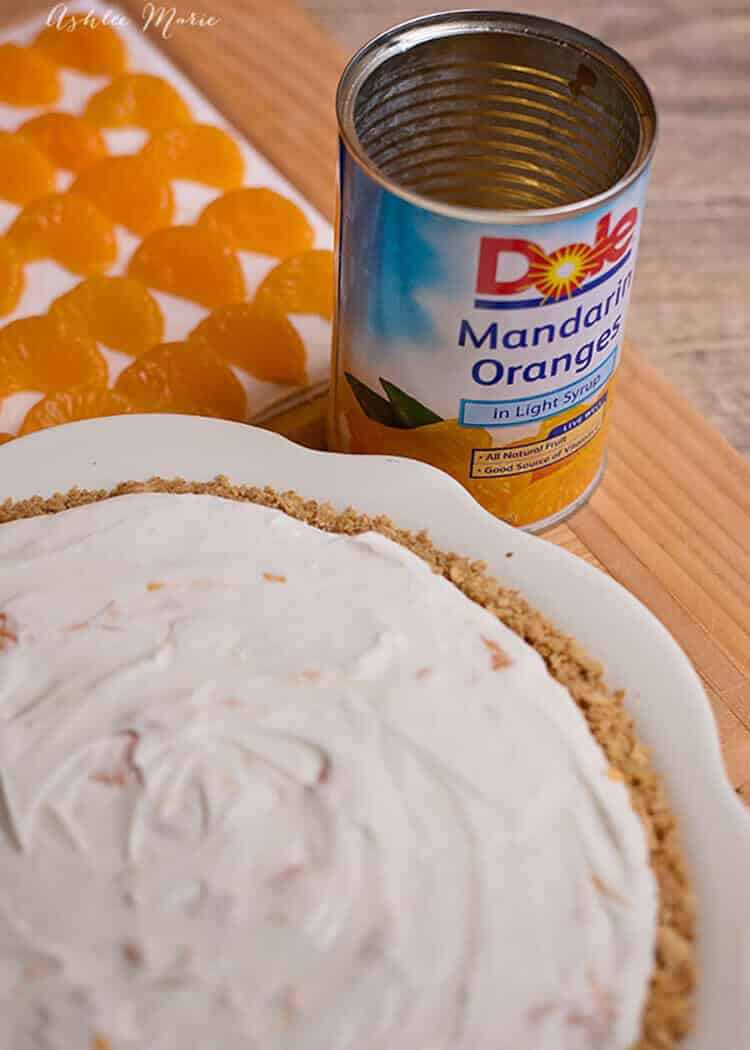 Fill and top your no bake cheesecake recipe with sweet mandarin oranges for a sweet treat