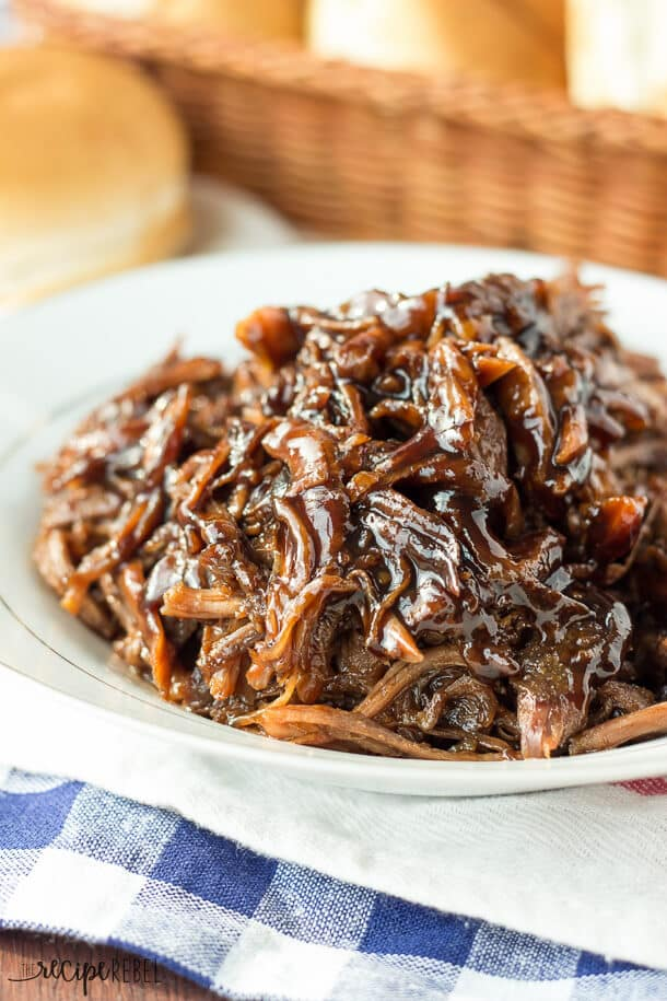 Slow Cooker Honey Balsamic Pulled Pork {The Recipe Rebel}