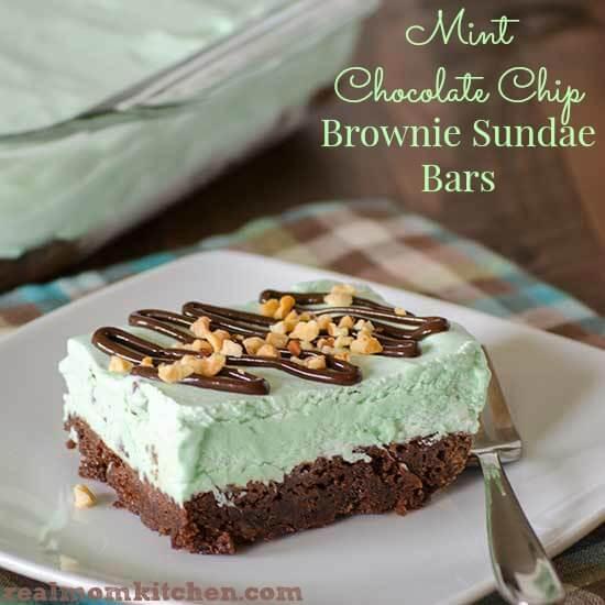 mint chocolate brownie sundae bars