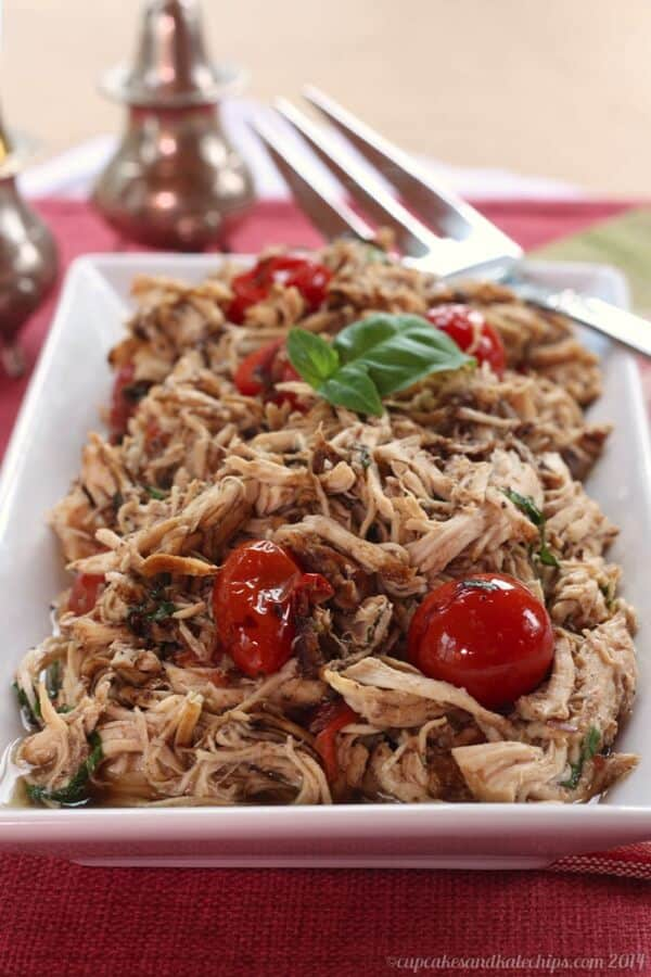 Slow Cooker Tomato Basil Pulled Chicken {Cupcakes and Kale Chips}
