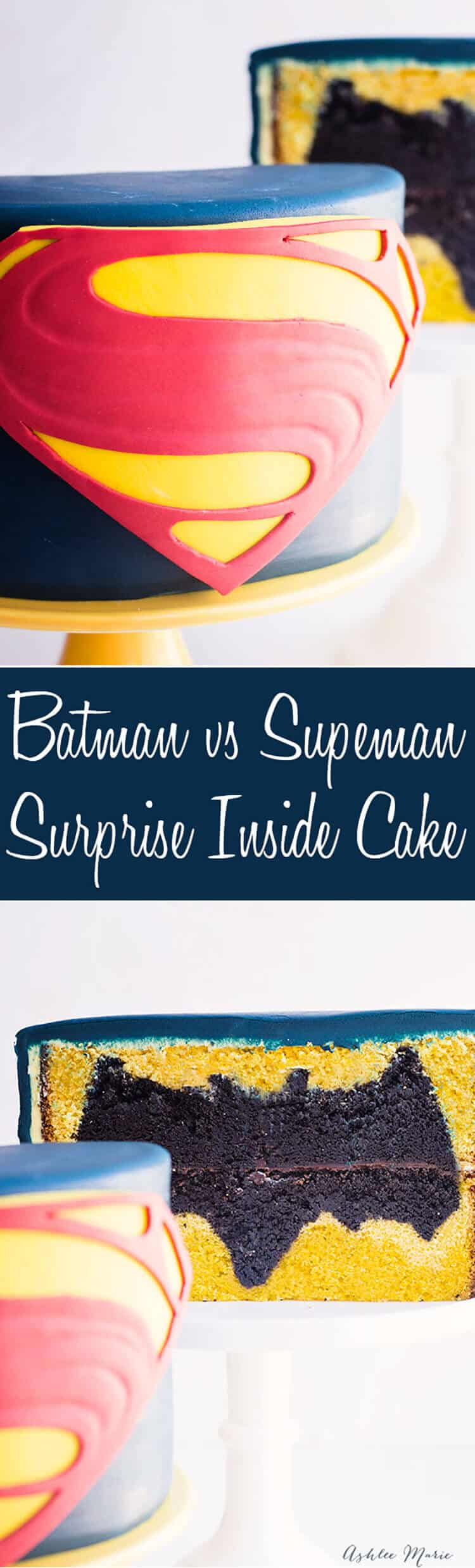 a video tutorial for creating your own batman vs superman movie surprise inside cake